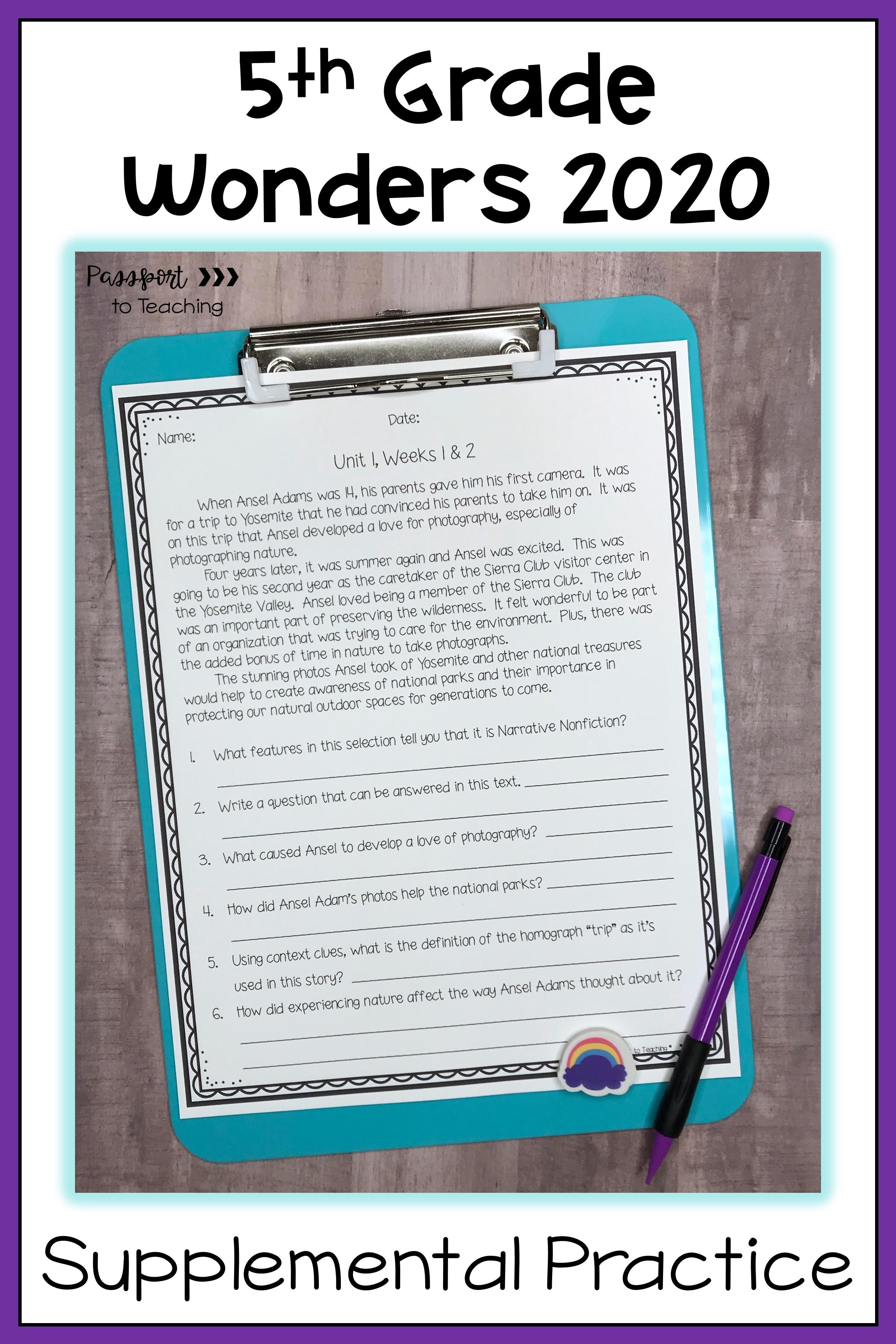 5th Grade Wonders Weekly Reading Worksheets Bundle