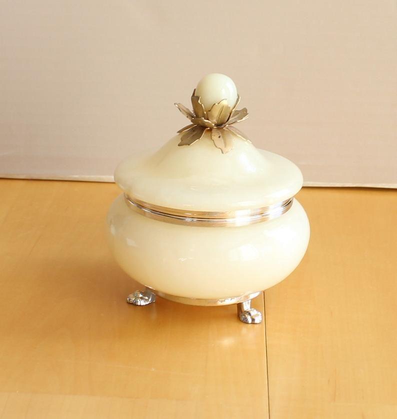 Alabaster Vanity Box White Footed Lidded Trinket Jewelry Storage