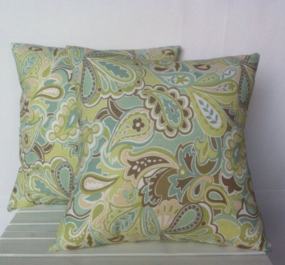 Blue Brown Beige Green floral pillow cover cushiondecorative