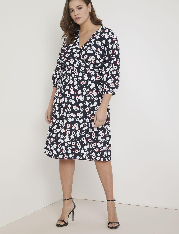 Premier 3 4 Sleeve Wrap Dress Women S Plus Size Dresses Eloquii Dress Shirts For Women Plus Size Dresses Plus Size Outfits [ 1370 x 1050 Pixel ]