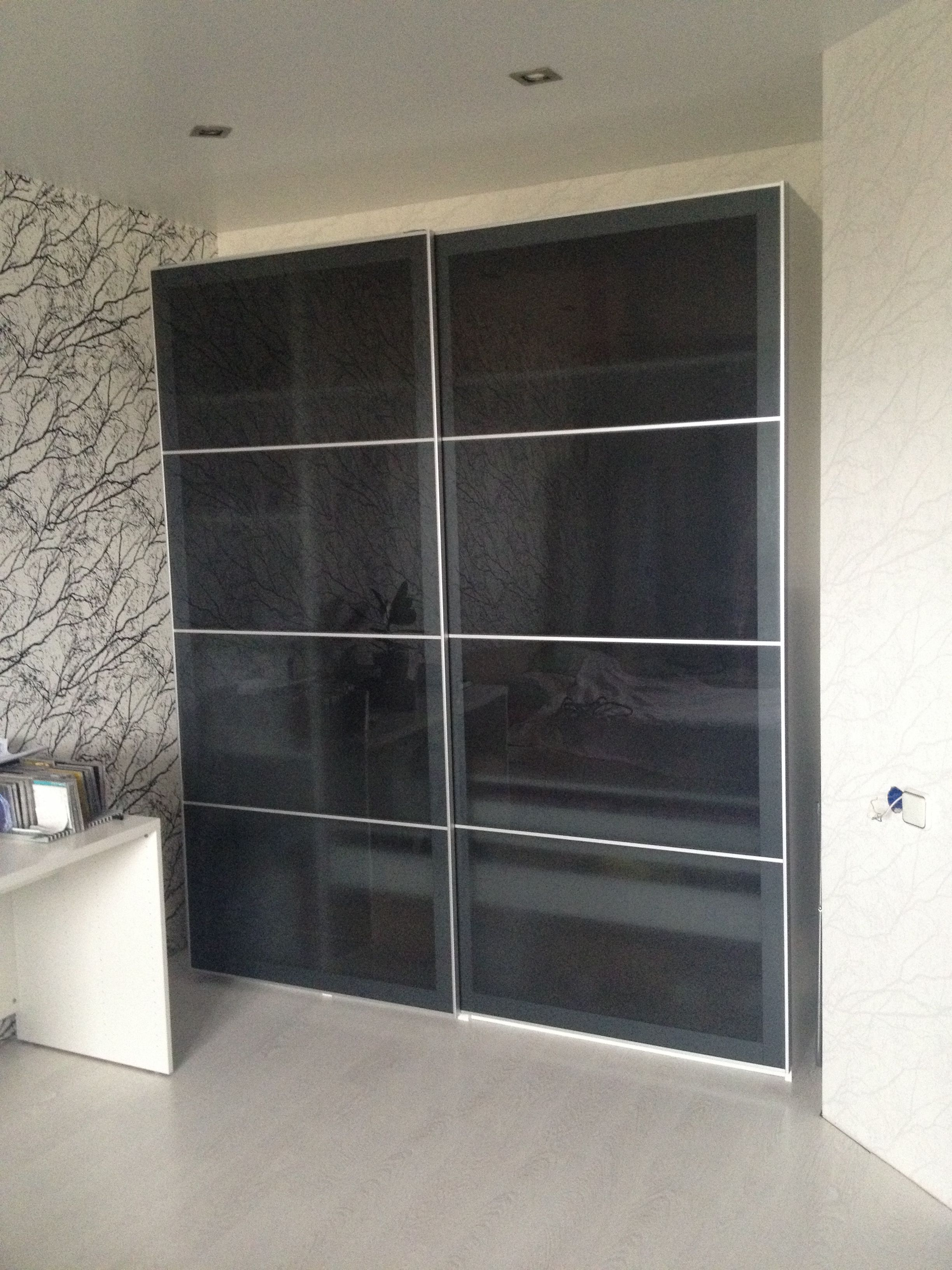 IKEA Pax Wardrobe With Gray Glass Sliding Doors