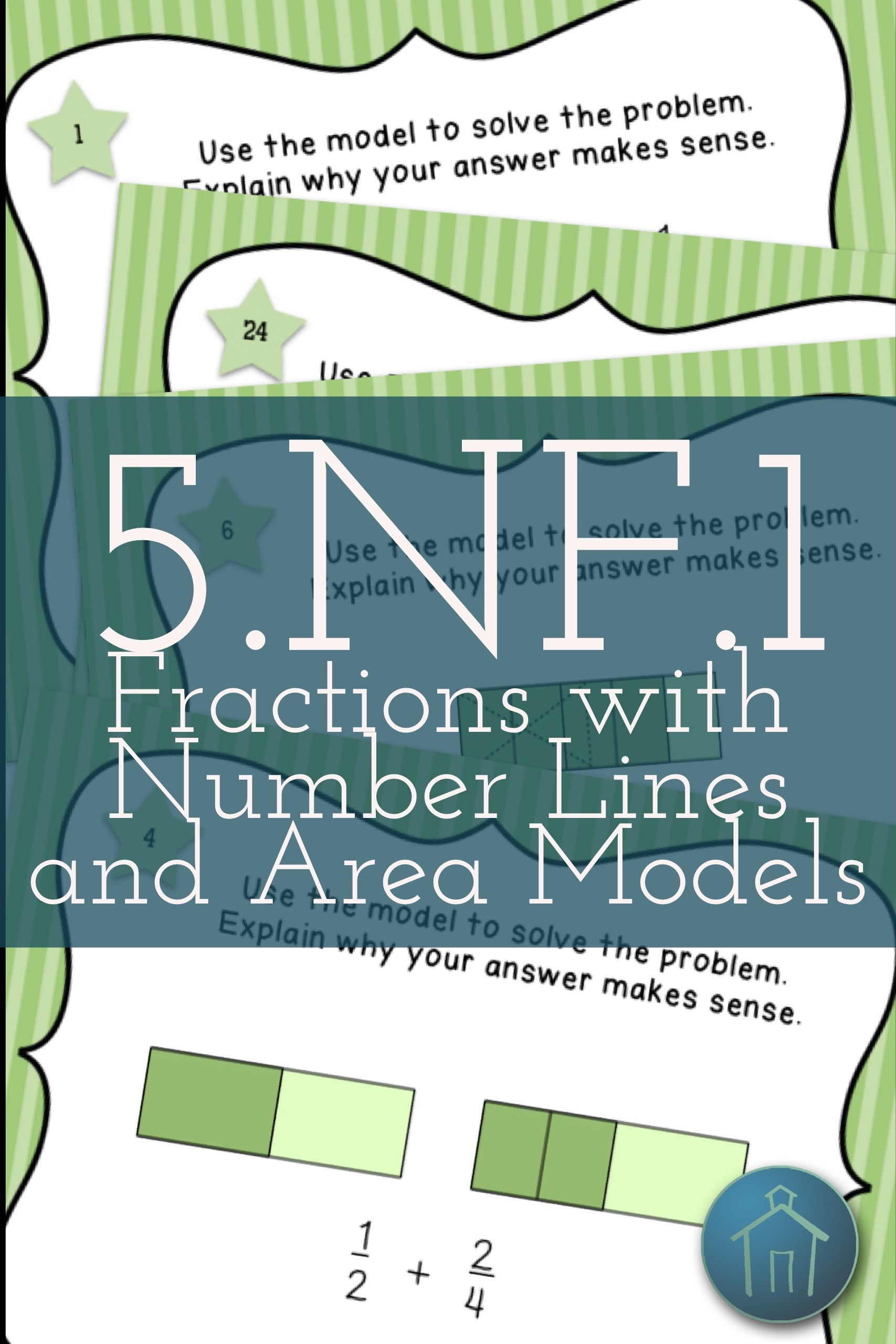 5.NF.1 Task Cards Adding and Subtracting Fractions Number Lines and ...