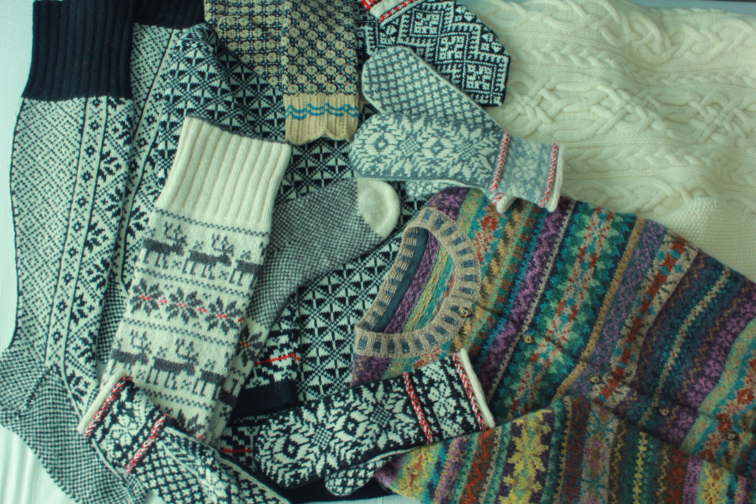 Some of my work - stockings, ski sweater, Aran sweater, mittens and Orkney cardigan. I love knitting fair isle :)