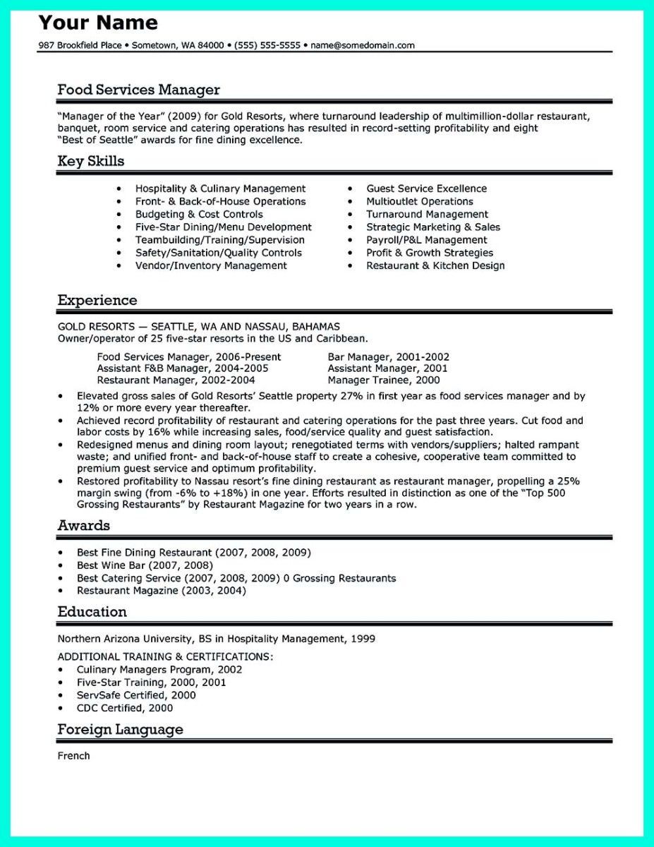 nice attractive but simple catering manager resume tricks check more at http - Catering Manager Resume