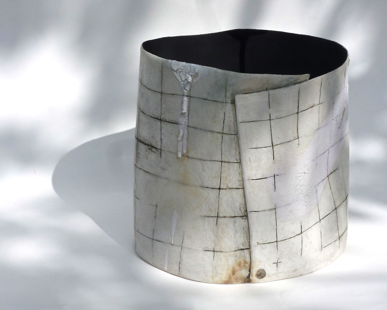 Hilary Mayo Ceramics, Stoneware vessel: mark making with hand brushed layers of glazes and oxides