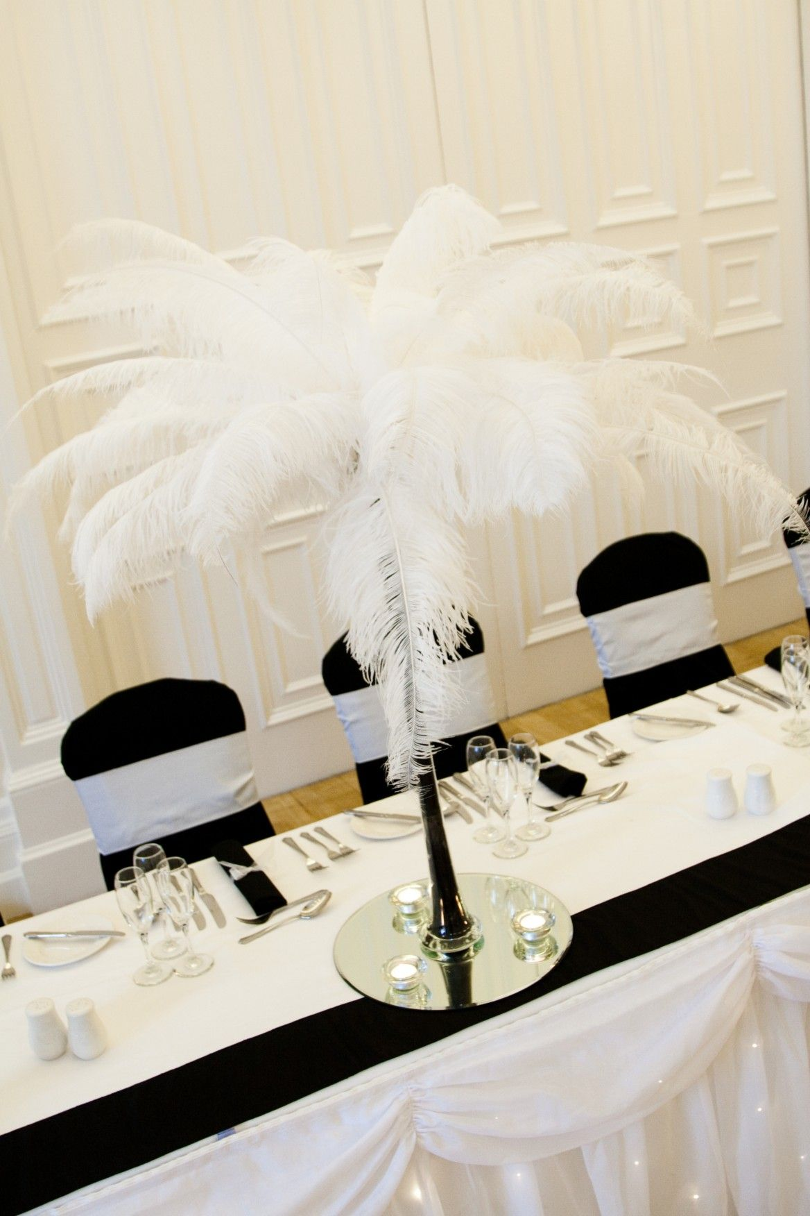 Tall black flute Vase with White feathers... #wedding http://www ...