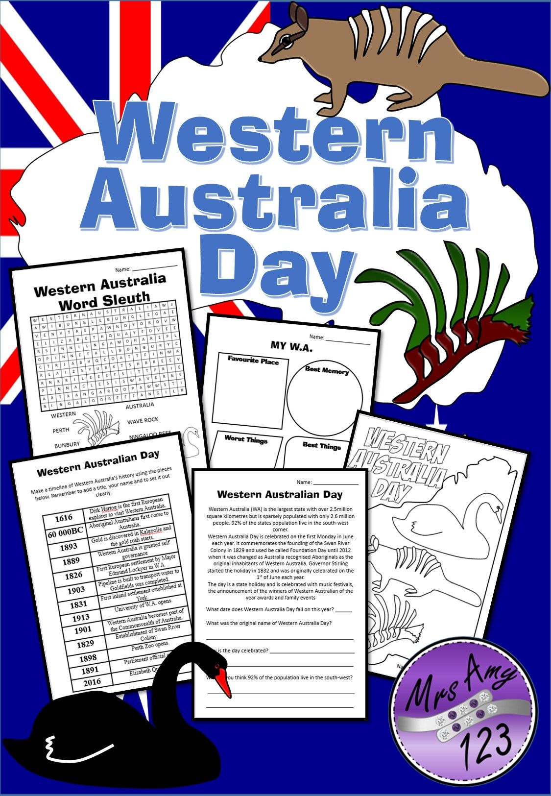 Western Australia Day Activity Pack With Images