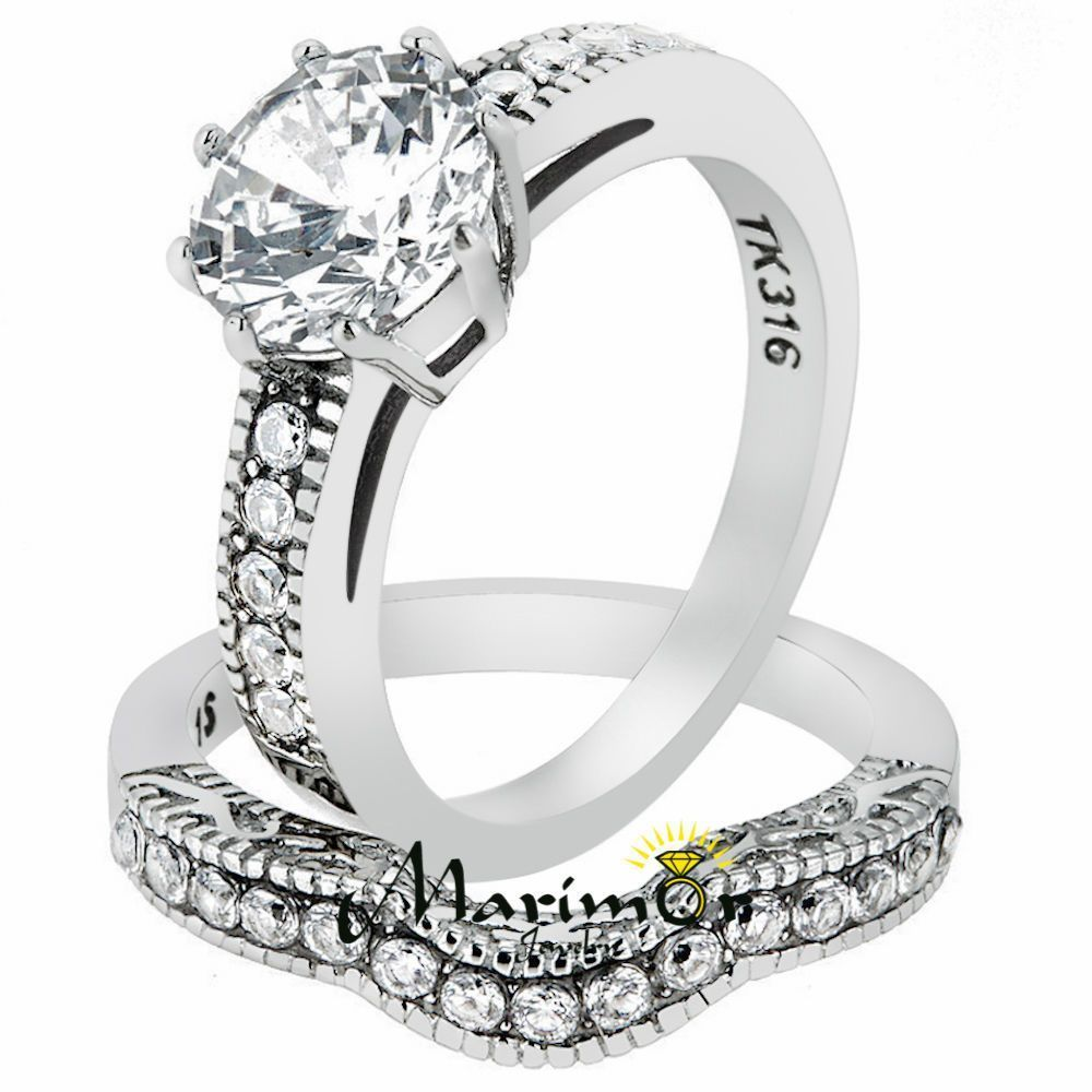 Stainless Steel 229 Ct Round Cut Cz Vintage Wedding Ring Set