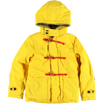 Deze hippe gele jas Linus van Bellerose heeft een 'houtje-touwtje' sluiting en handige capuchon. Voor jongens die willen opvallen.