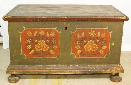 Antique Pennsylvania Dutch Chest Bun Feet Primitive Paint Decorated C1830  227