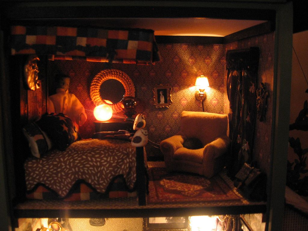 exciting-halloween-house-bedroom-decoration-bed-arm-chair-round - halloween house decoration ideas