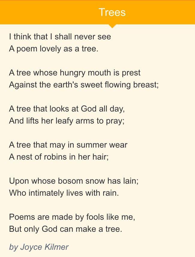 trees poem by joyce kilmer