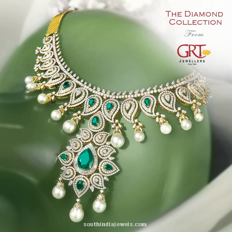 31f11b786e529 Diamond Emerald Pearl Necklace from GRT Jewellers | Indian Jewels ...