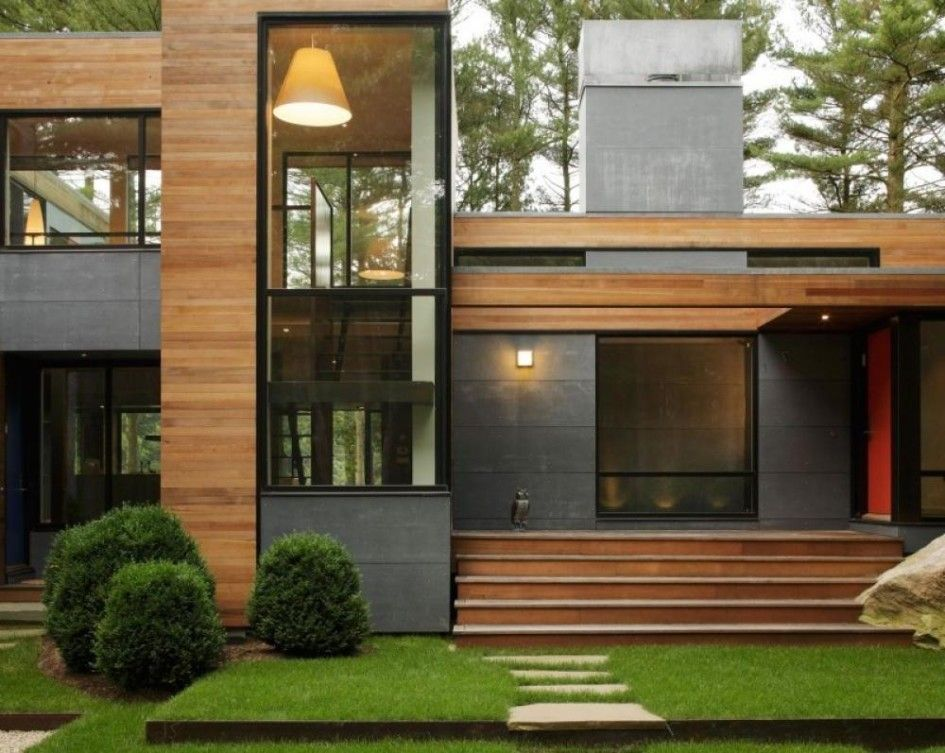 Modern house exterior materials gallery recherche google for Wood homes plans