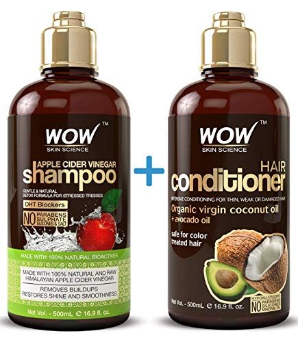 WOW Apple Cider Vinegar Shampoo & Hair Conditioner Set - (2 x 16.9 Fl Oz / 500mL) - Increase Gloss, best home accessories Offers  from apple