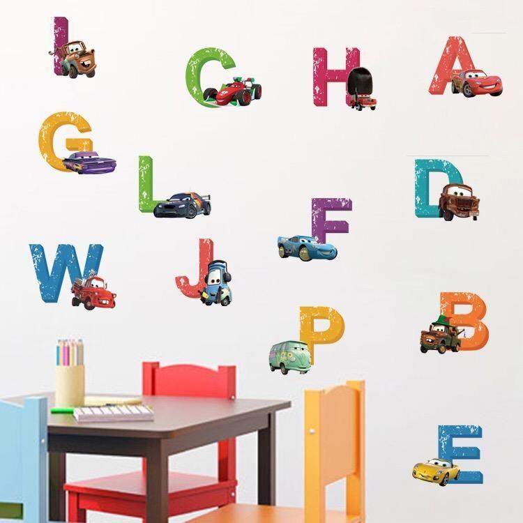 Beautiful Disney Cars Alphabet Wall Decals
