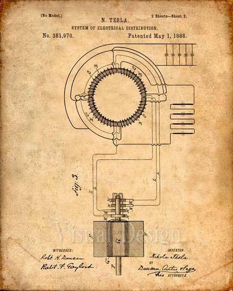Patent Print Tesla Transformer Tesla Wall Art Tesla   Patent ...