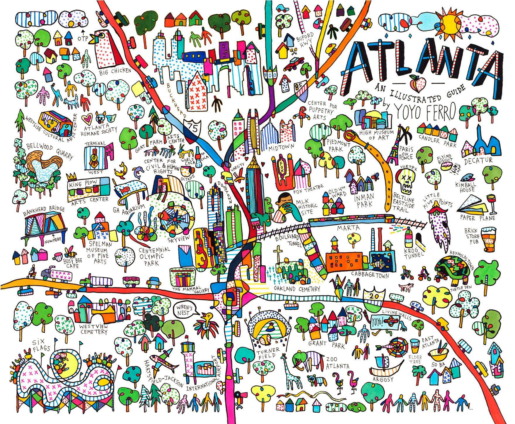atlanta map posters