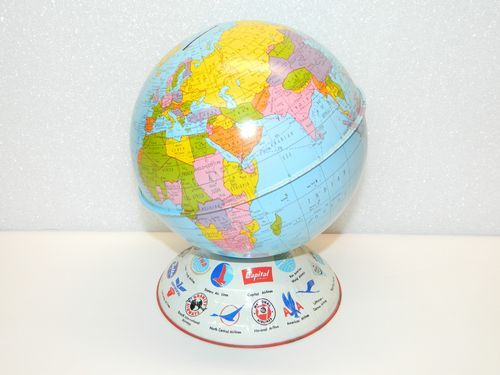 Vintage Tin Toy Bank Globe OHIO ARTS AIRLINES PROMOTIONAL Piggy Banks Toys