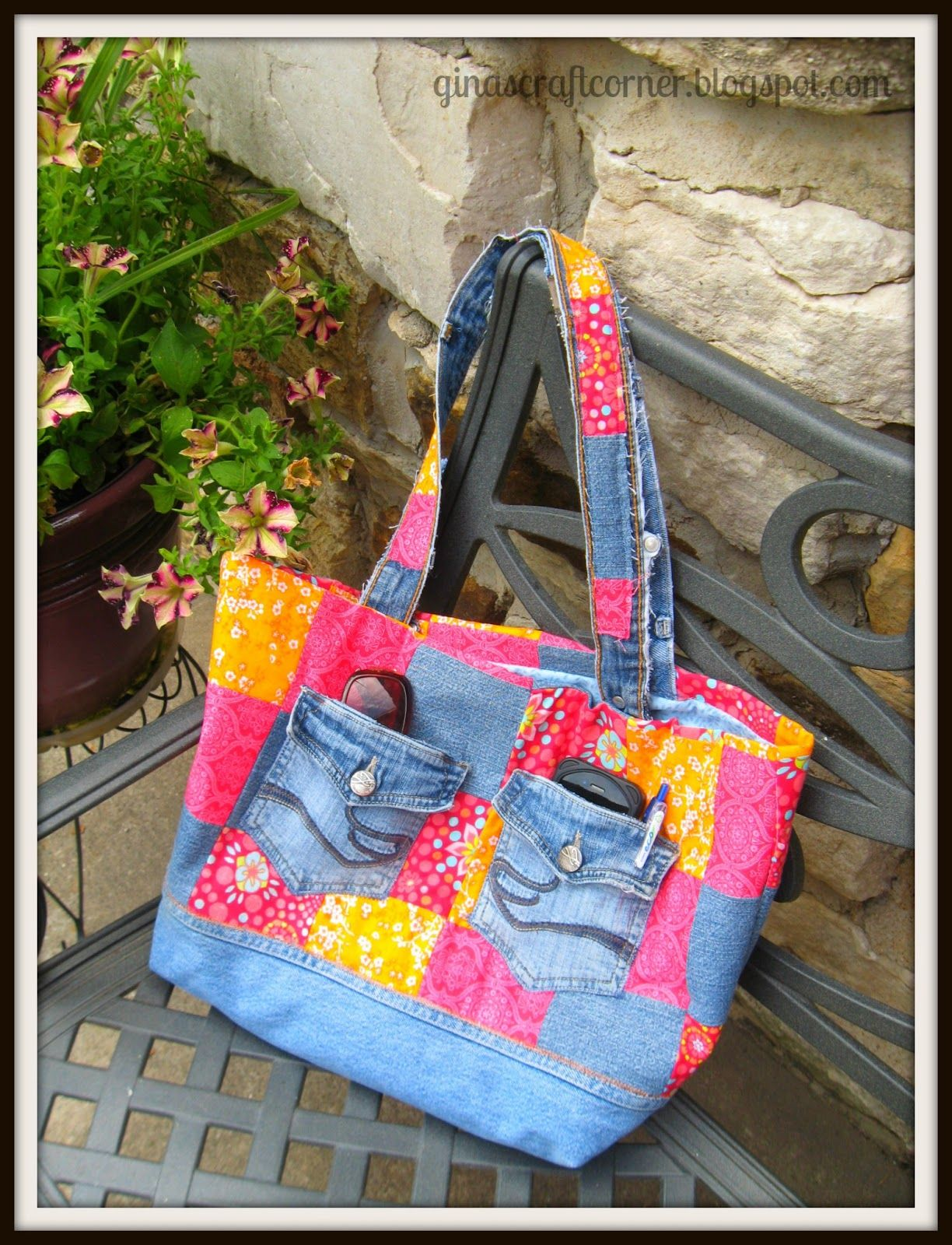 Gina's Craft Corner: My 'Casual Friday' Bag: A Blue Jean Upcycle