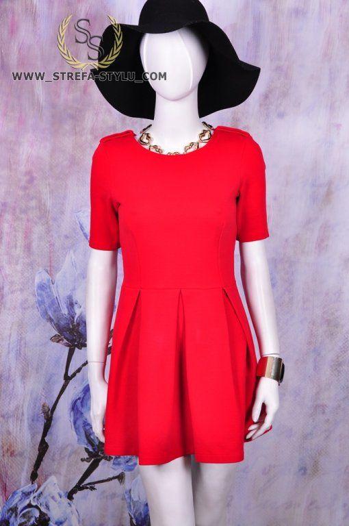 Zara Sukienka Rozkloszowana Damska Czerwona 38 M 6111080294 Oficjalne Archiwum Allegro Fashion Dresses With Sleeves Short Sleeve Dresses