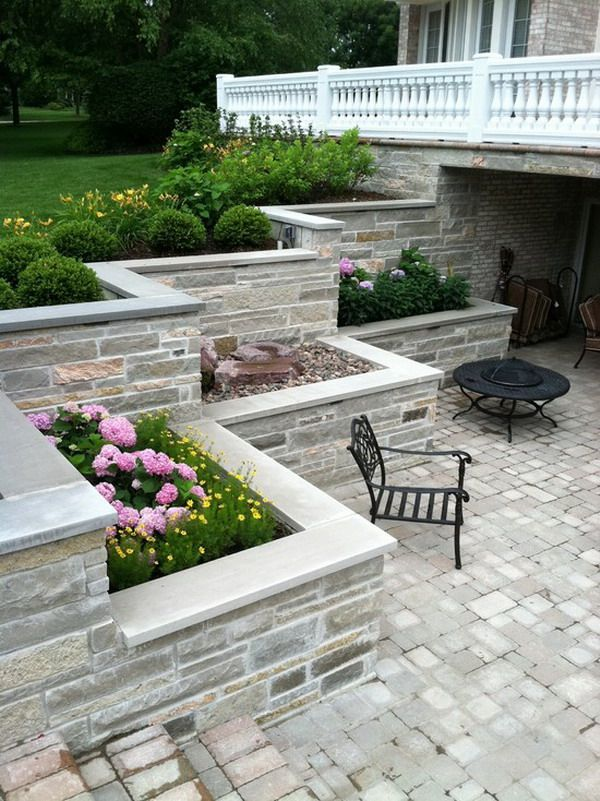 Nice Patio Outdoor Concrete Walls Awesome Design