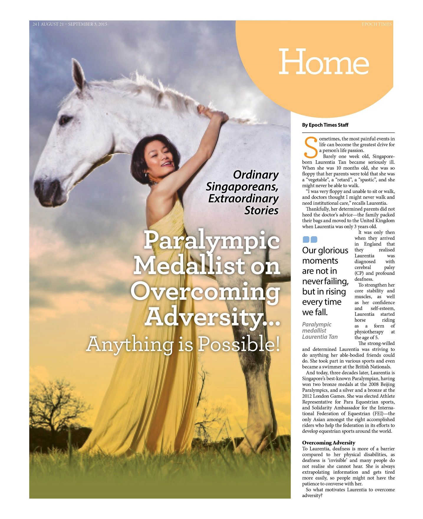 Paralympic Medallist on Overcoming Adversity… Anything is Possible! (Pg 1/2) --- Visit SG Mobile Site: http://sea.epochtimes.today --- Global Site: http://www.theepochtimes.com/