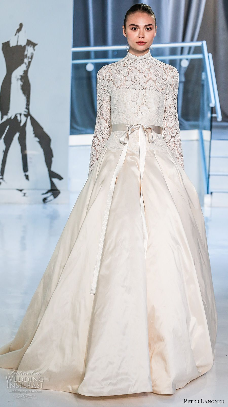 peter langner spring 2018 bridal long sleeves high neck heavily embellished bodice romantic modest a line wedding dress covered lace back chapel train (18) mv -- Peter Langner Spring 2018 Wedding Dresses #wedding #bridal #weddingdress #ballgown #romantic