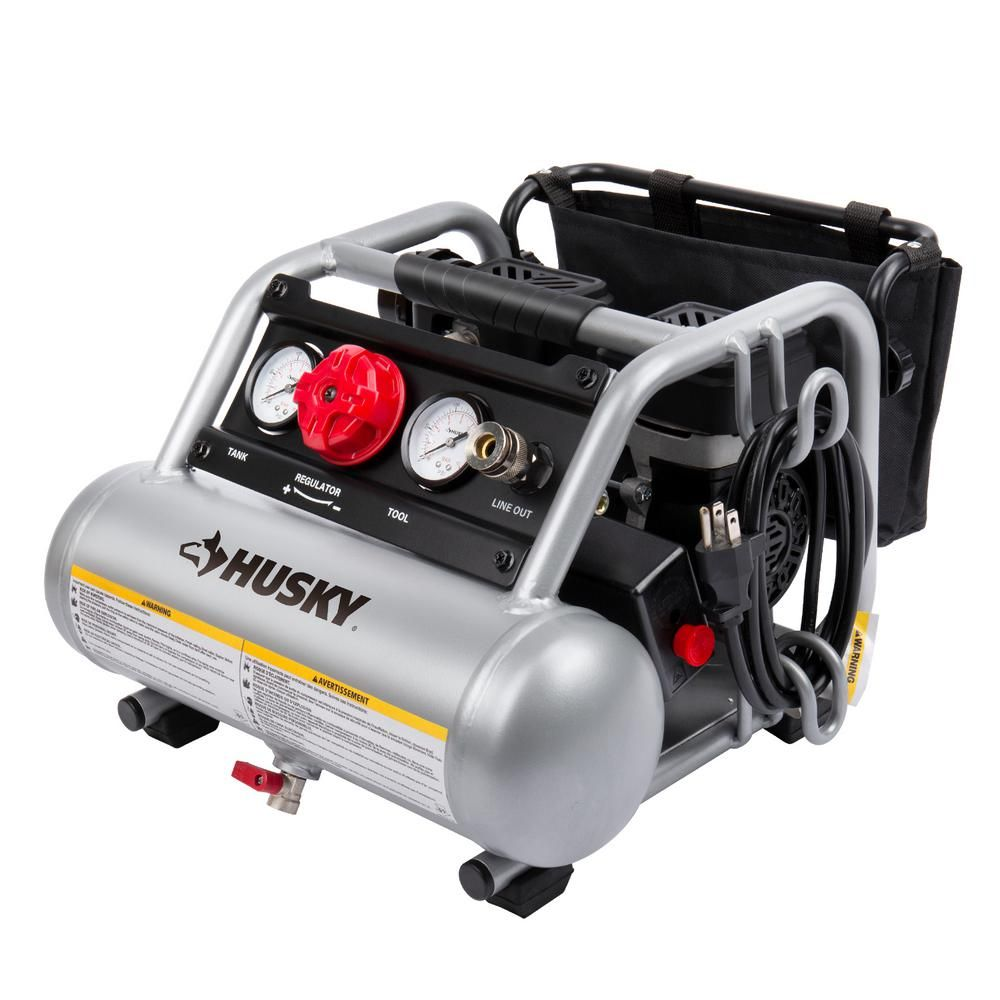 Husky 1 Gal Portable Electric Powered Silent Air Compressor Silent Air Compressor Air Compressor Compressor