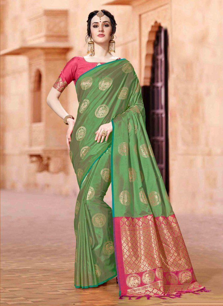 f91b9d6ef0e946 EMERALD SOUTH SILK SAREE WITH ZARI WEAVING AND CONTRAST BLOUSE | buy ...