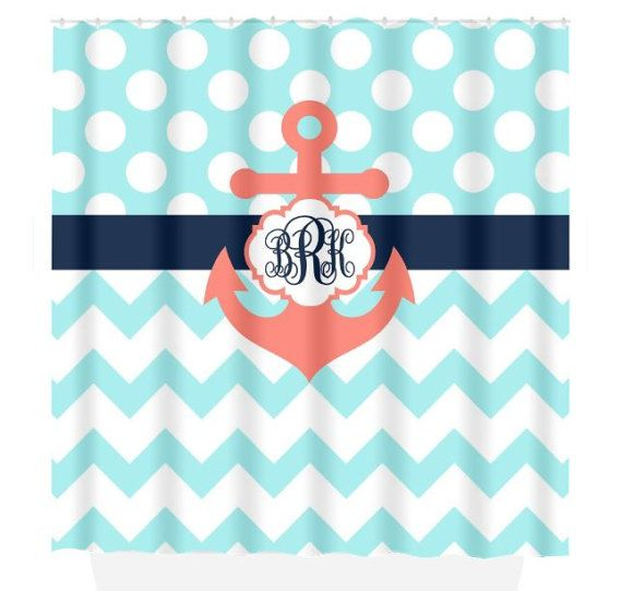 coral and blue shower curtain. ANCHOR SHOWER CURTAIN Navy Blue Coral Aqua Custom by TRMdesign