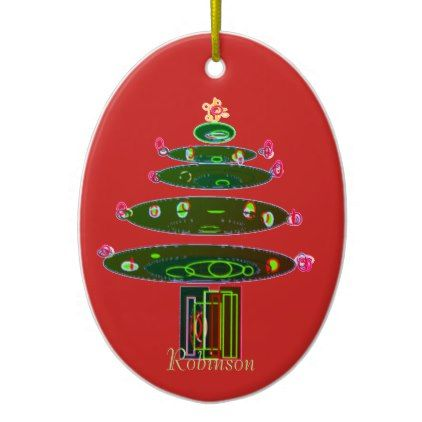 Christmas Tree Family Name Ornament - #xmas #christmas