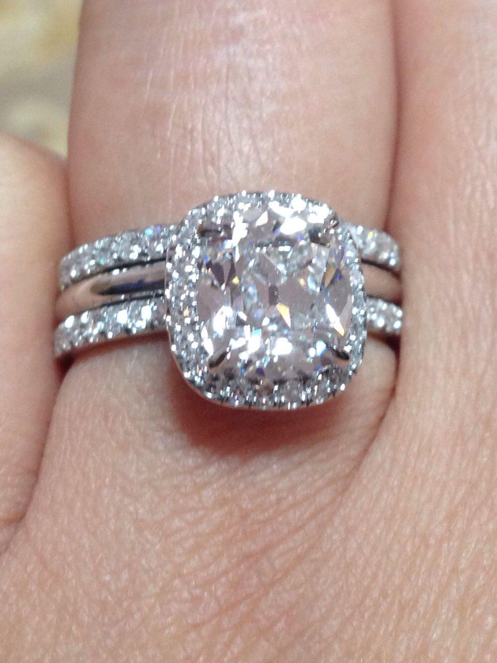 Victor Canera Custom Platinum Spacer Pave Eternity Wedding Band And Emilya Engagement Ring Wedding Rings Rings Eternity Wedding Band