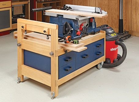 This Handy Cart Helps Your Small Table Saw Work Large And Also Adds Much Needed Storage Table Saw Stand Small Table Saw Table Saw Workbench