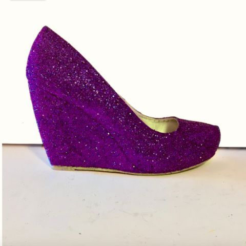 womens sparkly purple plum glitter wedge heels wedding bride prom shoes personalized glitter shoe co