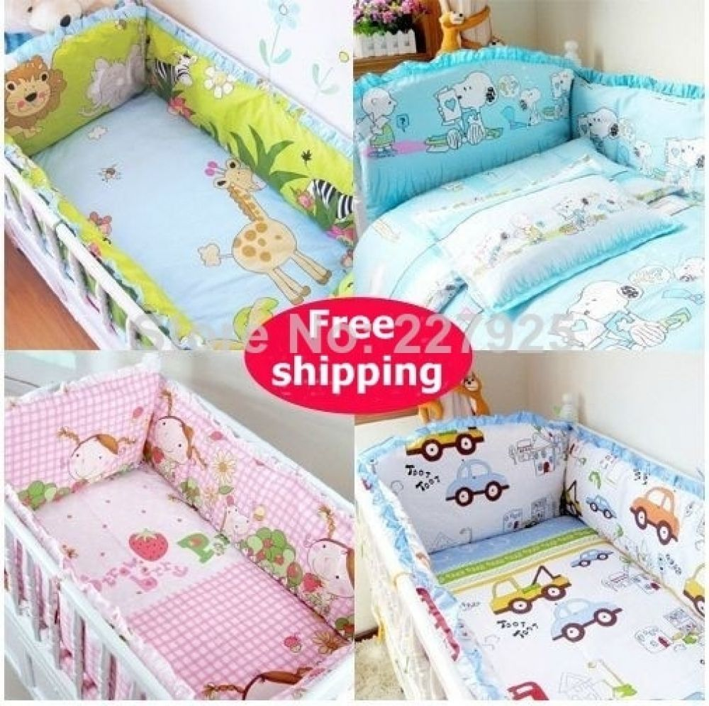 Newborn Baby Cot Bumpers Sest 100 Cotton Crib Bumper Unisex Cartoon Bed Safe Around Baby Bedding Set Baby Room Decor In 2020 Newborn Baby Bedding Baby Bumper Baby Bed