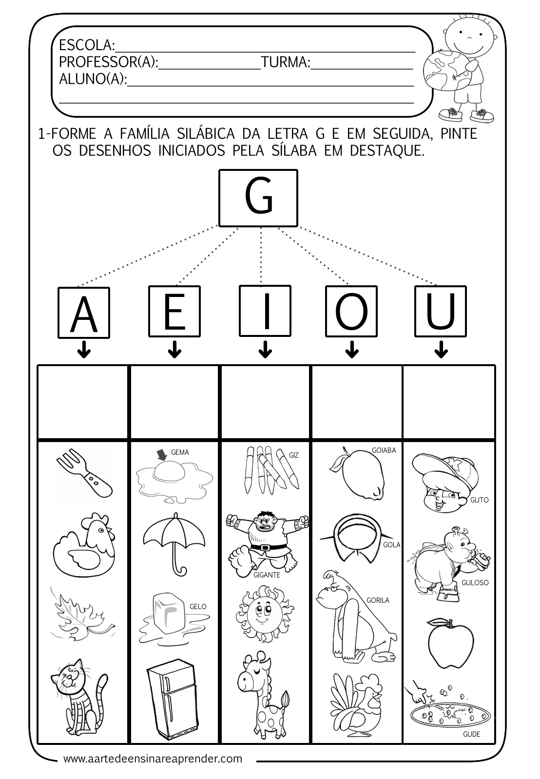 Preferência Atividade pronta - Família silábica da letra G   Ensinar, Letras e  PX06