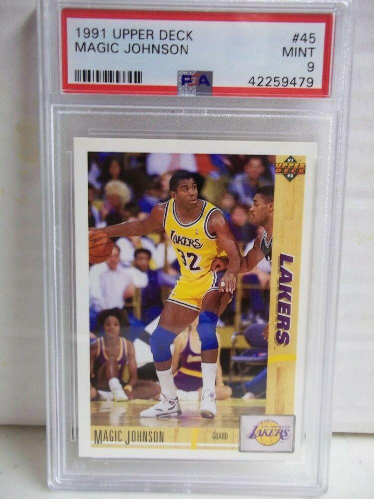 1991 upper deck magic johnson psa mint 9 basketball card