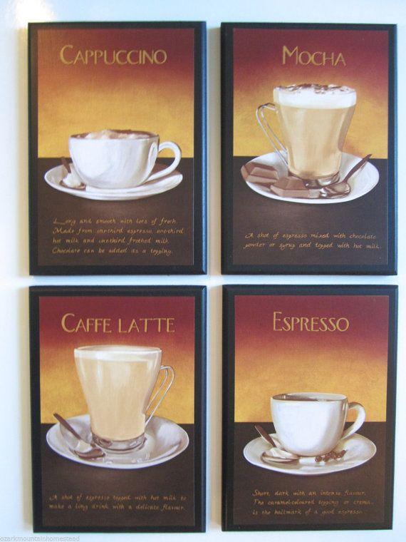 Coffee Kitchen Wall Decor Plaques Mocha Espresso Cuccino Latte 4 Pc