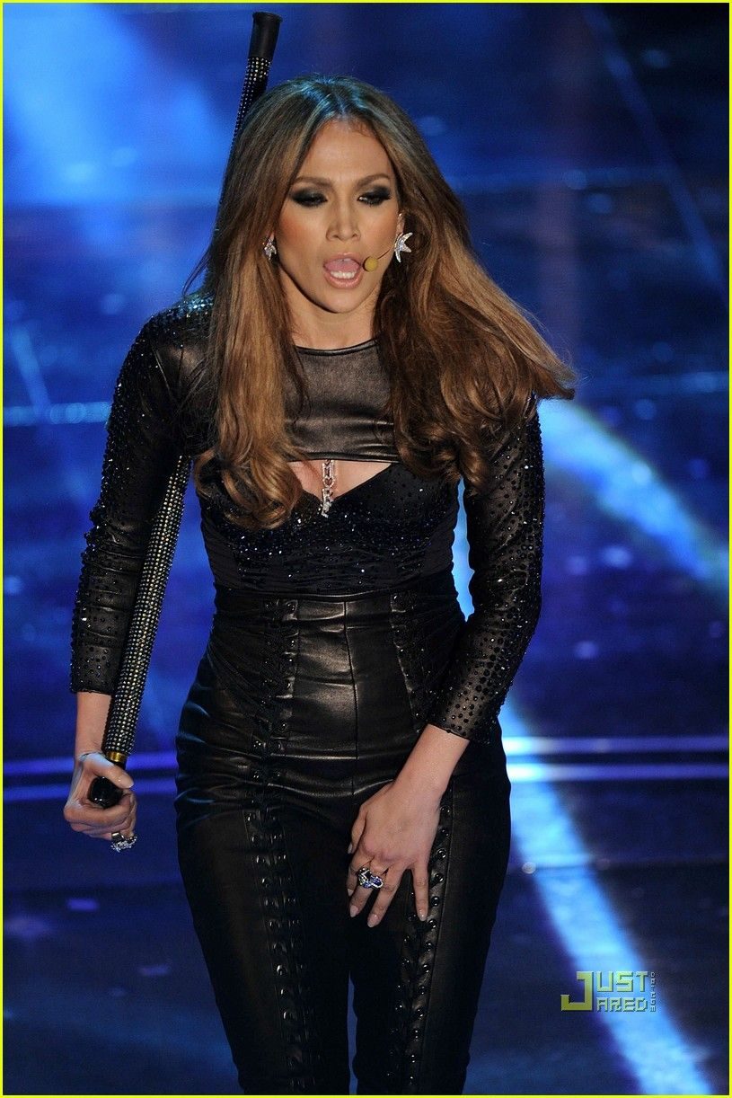 80bb71bd Jennifer Lopez rocks some Balmain threads while performing at the Ariston  Theatre in Italy's Sanremo during the 60th Italian Music Festival on Friday  ...