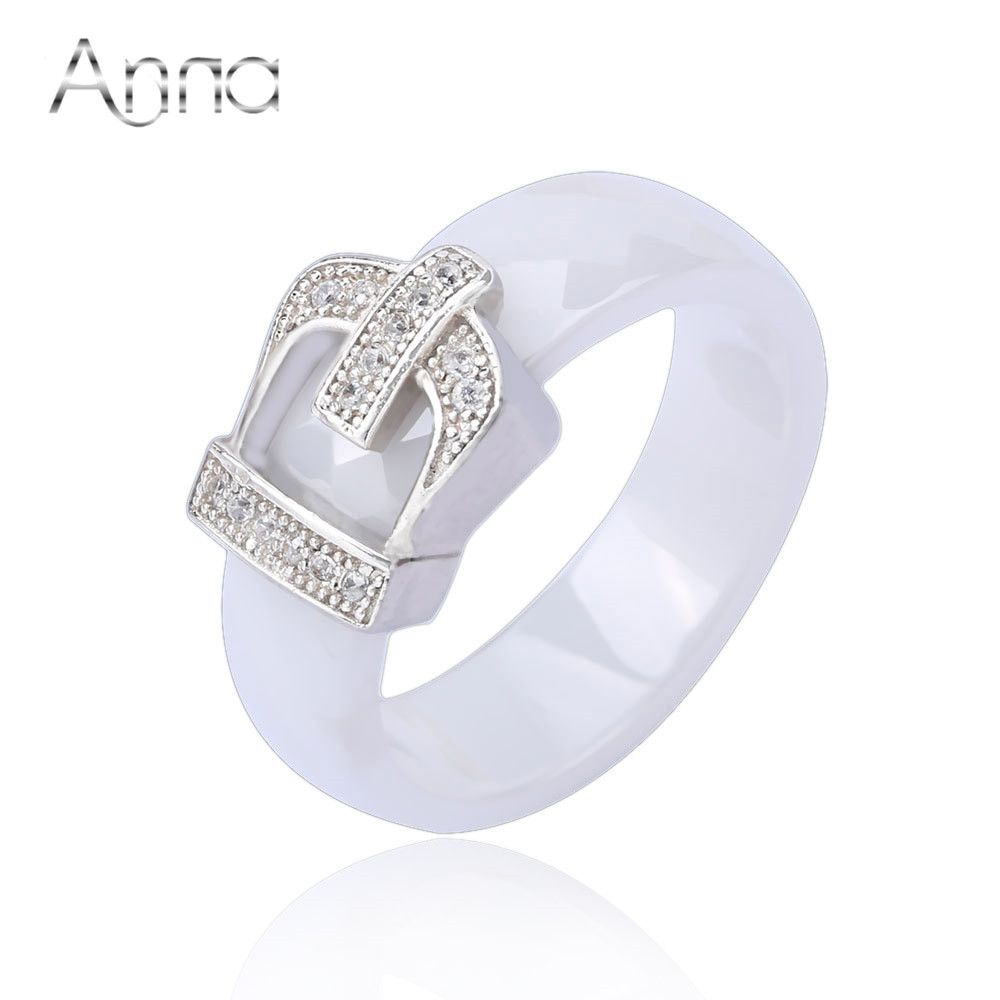 Купить A и N корона керамические кольца с кристаллический камень обручальные … 1a08139abbe