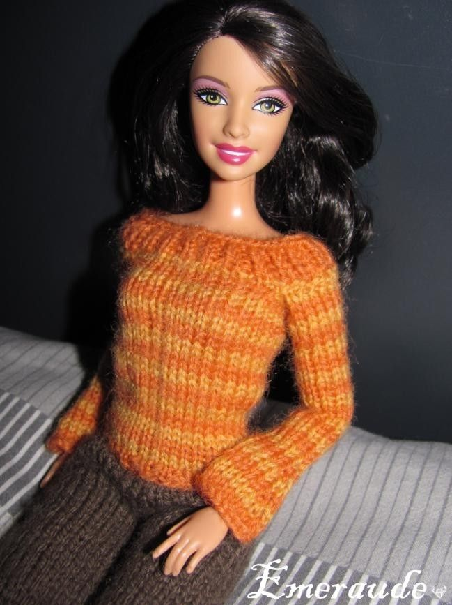 Tricot Ensemble n°7 (pull rayé et pantalon) pour Barbie