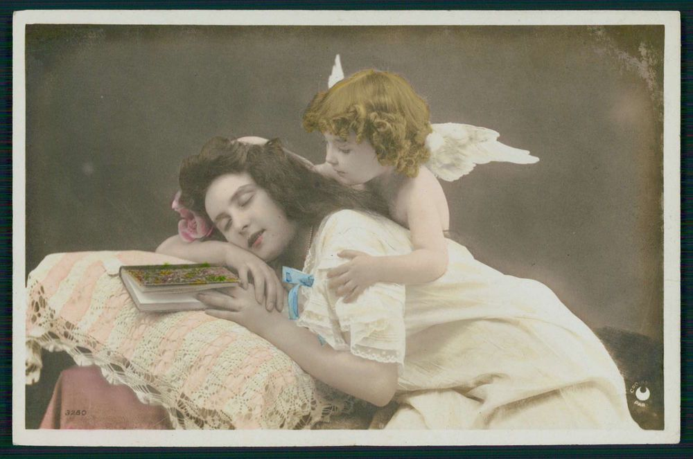 Child Boy Angel Edwardian Romantic Lady Book original old 1910s photo postcard