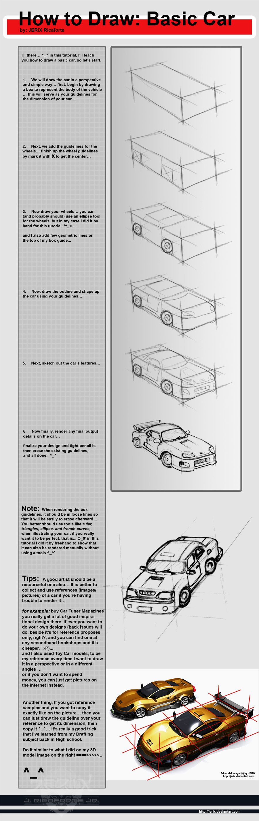 How to draw basic Car O_o by jerix | Model Cars | Pinterest | Cars ...