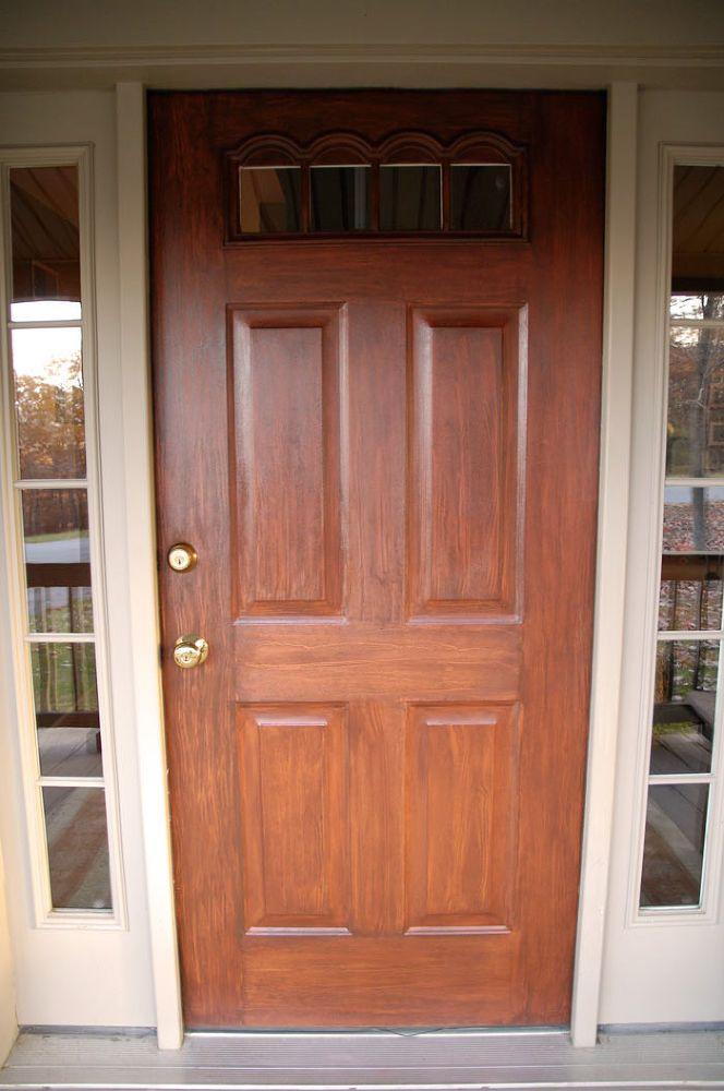 Front Door Redo Using Faux Wood Grain Technique Painted Front Doors Door Redo Faux Wood Garage Door
