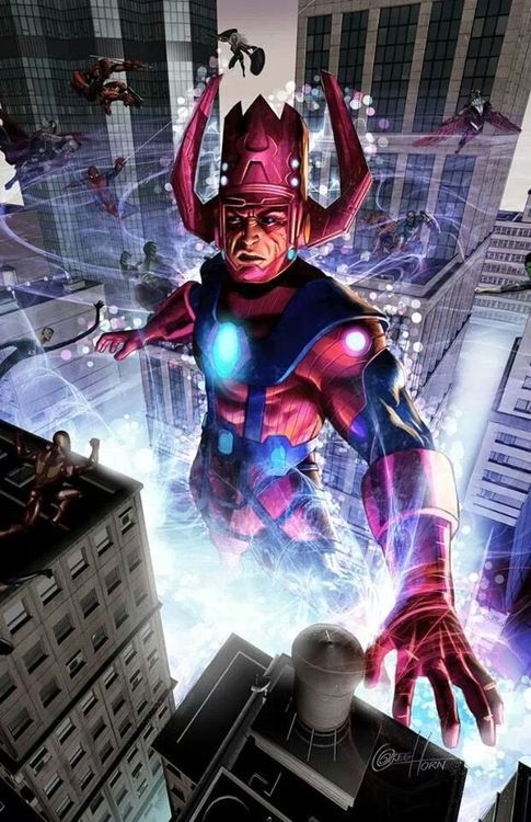 Galactus by Greg Horn. He just looks so perplexed about why these little people have built this city around him.
