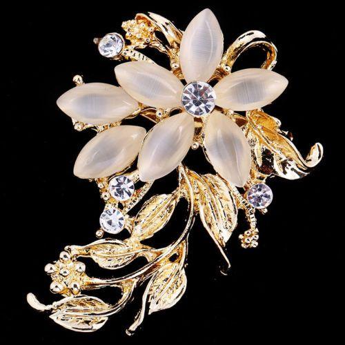 Women Crystal Rhinestone Brooch Wedding Party Bridal Flower Brooch Pin tvpepmD