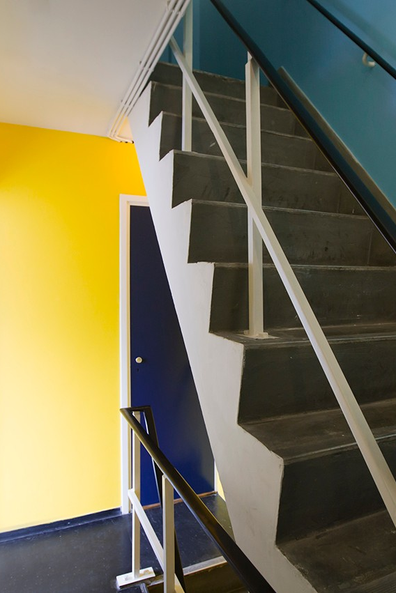 Colourful staircases in bridge house 101-Gerben Wagenaarbrug, a tower-like bridge house with 4 storeys! Imagine what the view must be from the upper floor...  #sweetshotel #hotel #hotels #tower #amsterdam #amsterdamnorth #amsterdamnoord #northamsterdam #gerbenwagenaarbrug #hotelinamsterdam #amsterdamhotels #staircase #staircasedesign #interiordesign #design #staircaseideas #interiorideas #wallcolors #4storey #4floors #4thfloor #bridgehouse #apartment #architecture #interiorarchitecture #interior
