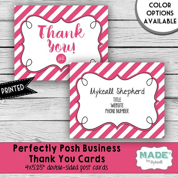 Perfectly Posh Inspired Business Thank You Note Card Set  Pink