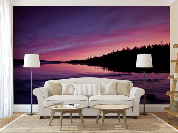 Peel And Stick Photo Wall Mural Purple Sunset Eco Certified For Safe Indoor And Outdoor Use Premium Peel And S Purple Sunset Wall Murals Custom Wall Murals